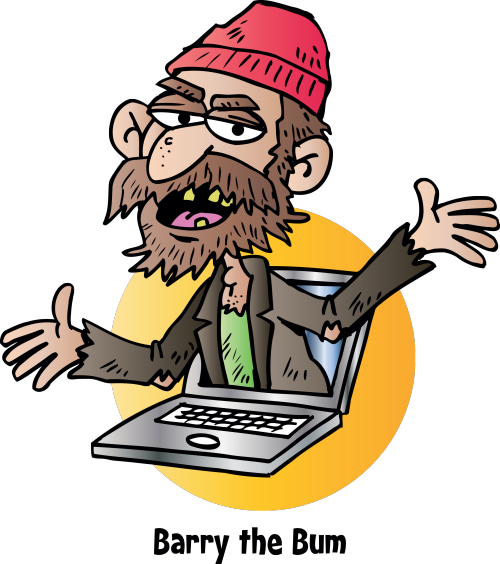 tramp bum beard computer